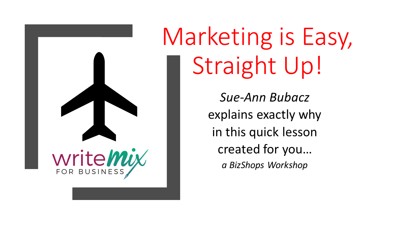 Marketing is Easy Straight Up Title Visual with Sue-Ann Bubacz