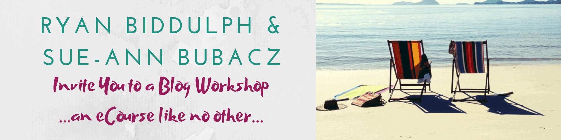 How to Bling Your Blog & Feed That Hog Header Banner invite from Ryan Biddulph & Sue-Ann Bubacz to Join a Blog Workshop Like No Other