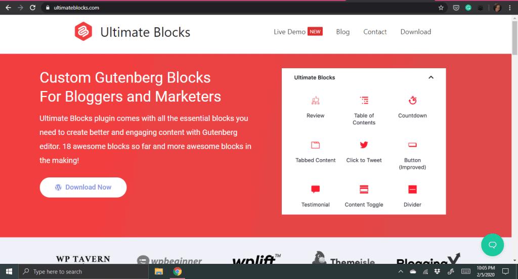 Screenshot of the Ultimate Blocks Plugin Website for custom Gutenberg blocks in WordPress